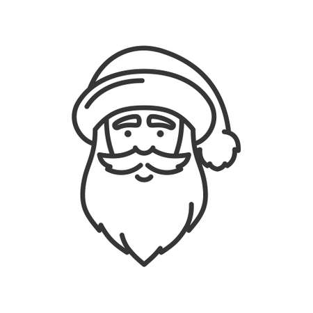 Santa Claus Face Icon. Christmas and New Year Person. Vector