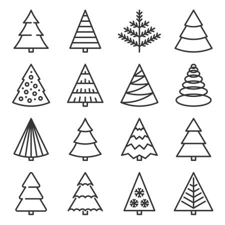 Christmas Tree Icons Set on White Background. Vector