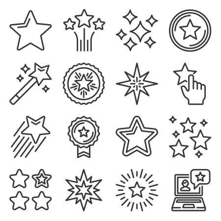 Shining Stars Xmas and Favorite Icons Set. Vector 矢量图像