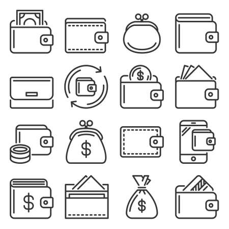 Wallet Icons Set on White Background. Vector 矢量图像