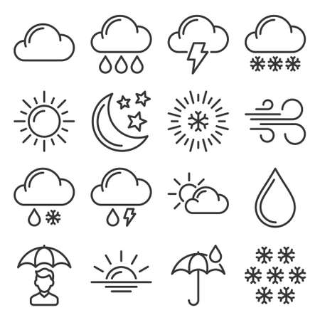 Weather Icons Set on White Background. Vector