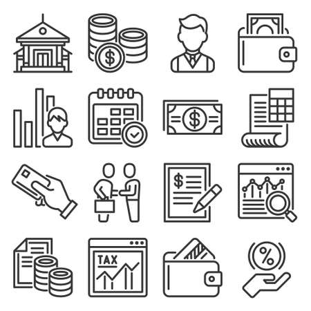 Bank, Business and Finance Icons Set. Vector