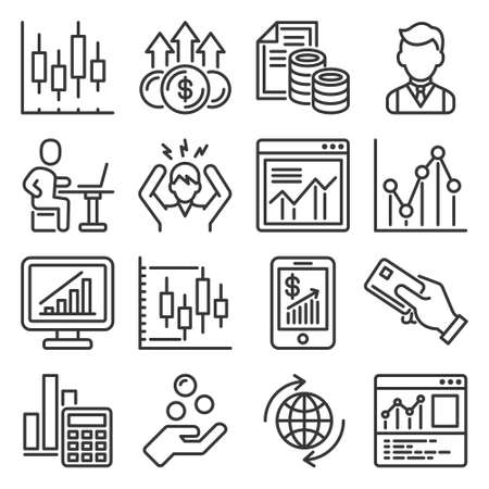 Investing, Business and Finance Icons Set. Vector