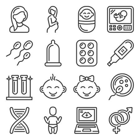 Pregnancy and Baby Planing Icons Set. Vector 矢量图像