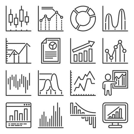 Business Charts and Graph Icons Set. Vector