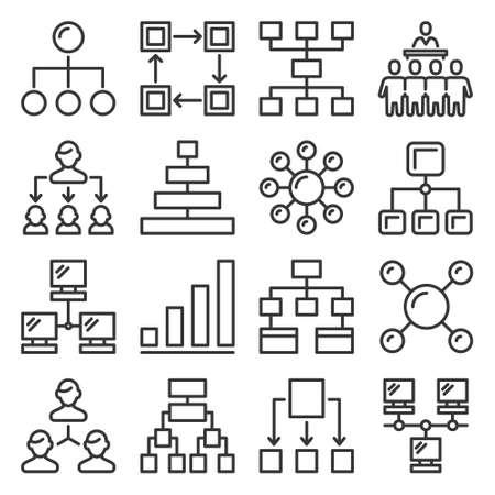 Business Hierarchy Structure Icons Set on White Background. Vector