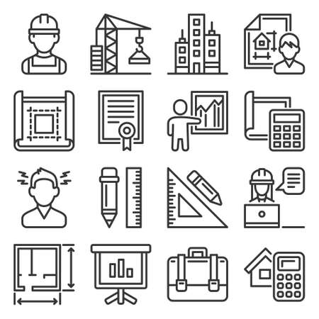 Architecture and Project Construction Icons Set. Vector