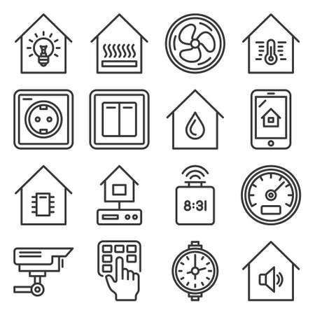 Smart Home Devices and Interface Icons Set. Vector
