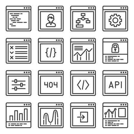 Web GUI Elements and Applications Screen Icons Set. Vector 矢量图像