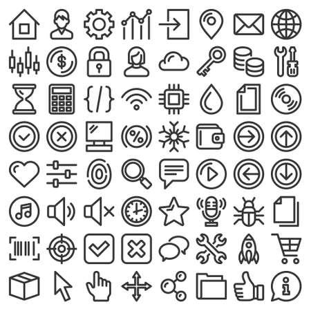 Web GUI Elements and Applications Screen Icons Big Set. Vector 矢量图像