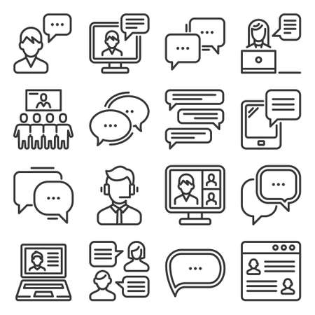 Communication, Chat and Speech Bubble Icons Set. Vector