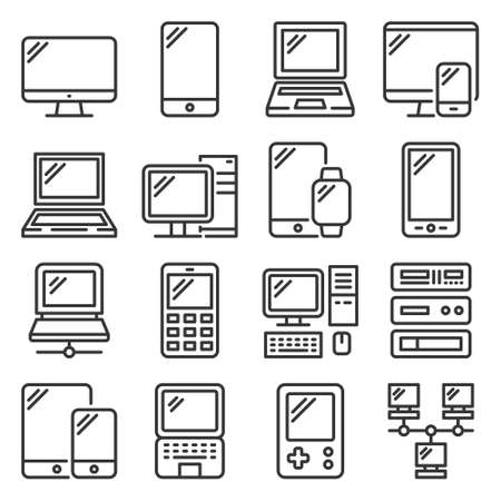 Electronic and Computer Devices Icons Set. Vector