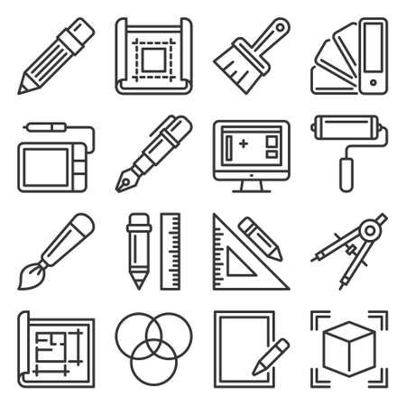 Drawing and Painting Tools Icons Set on White Background. Vector