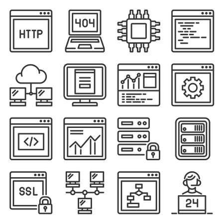 Web and Network Hosting Icons Set. Vector