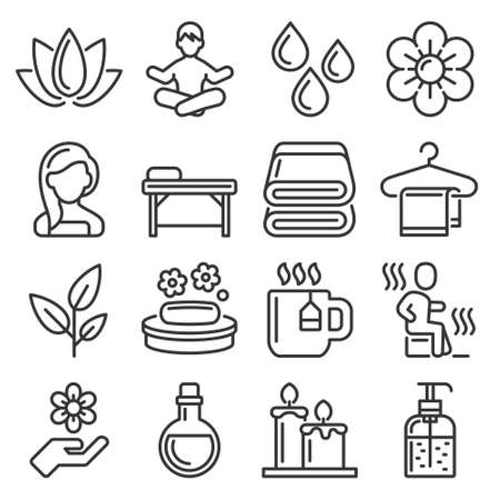 Spa and Relax Icons Set on White Background. Vector