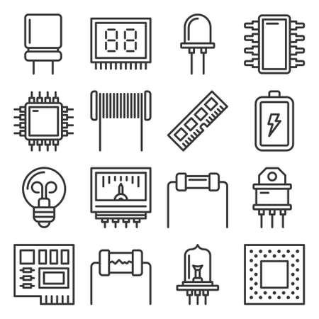 Electronic Components Icons Set on White Background. Vector