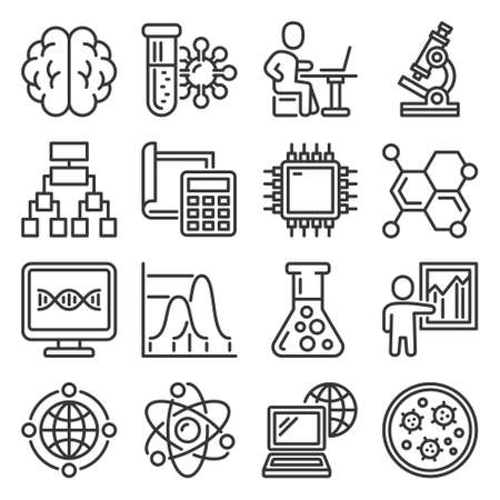 Science Icons Set on White Background. Vector 矢量图像