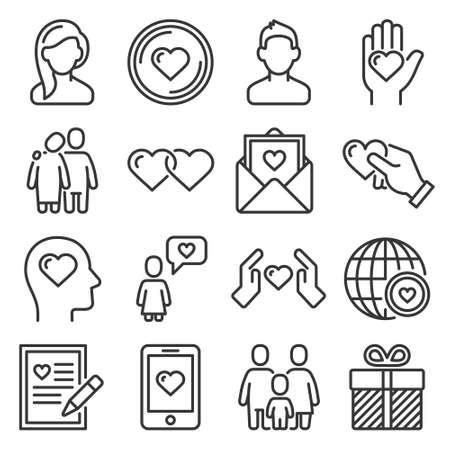 Relationship, Love and Wedding Icons Set on White Background. Vector