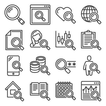 Search Icons Set on White Background. Vector 矢量图像
