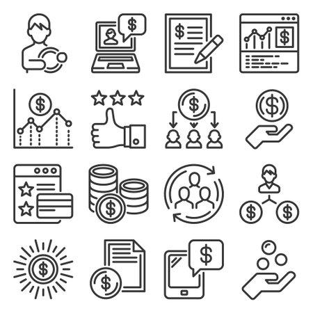 Royalty Program Icons Set on White Background. Vector