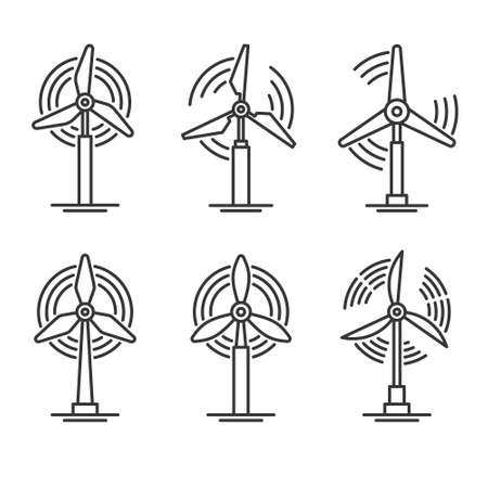 Windmill and Wind Turbine Set. Eco Power Generator Icons. Vector