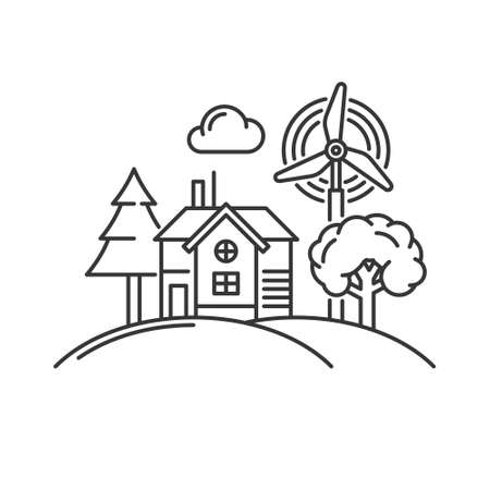 House with Windmill and Trees Icon. Vector