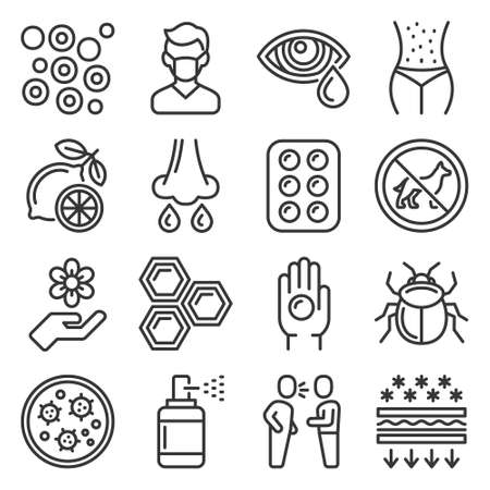 Allergies Icons Set on White Background. Vector