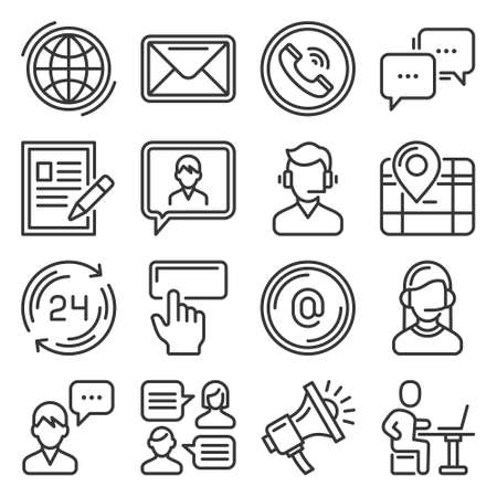 Contact Us Icons Set on White Background. Vector
