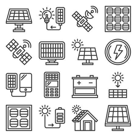 Solar Panel and Sun Energy Icons Set. Vector 矢量图像