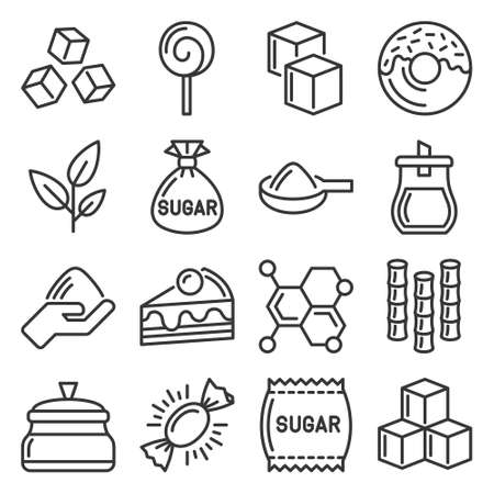 Sugar Icons Set on White Background. Vector