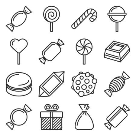Sweets and Candies Icons Set on White Background. Vector 矢量图像