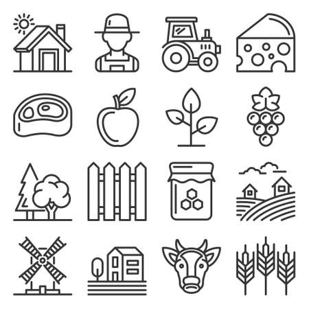 Farm Icons Set on White Background. Line Style Vector 矢量图像