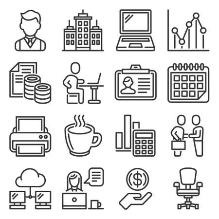 Office and Business Icons Set on White Background. Line Style Vector