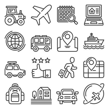 Travel and Tourism Icons Set on White Background. Vector