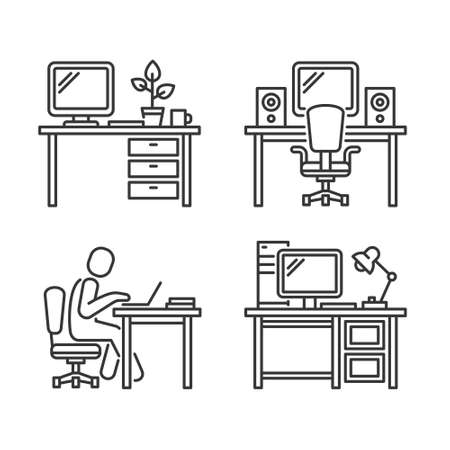 Workplace Icons Set on White Background. Vector