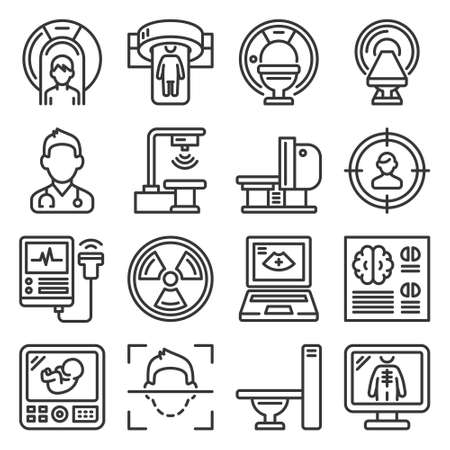 Medical Research Devices. CT Scan, MRI and X-ray Icons Set. Vector