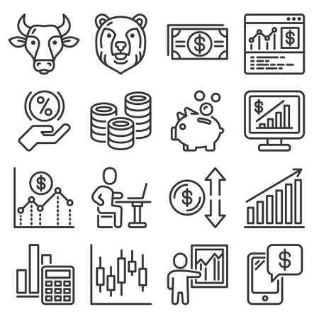 Money Investment and Banking Icons Set. Vector