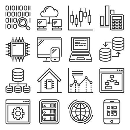 Big data and technology icons set.