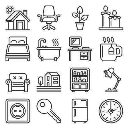 Home furniture icons set on white 矢量图像