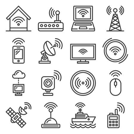 Wireless and communications icons set on white 矢量图像