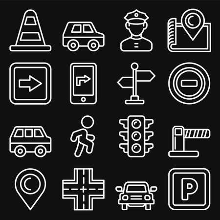 Car Traffic and Driving Icons Set on Black Background. Line Style Vector
