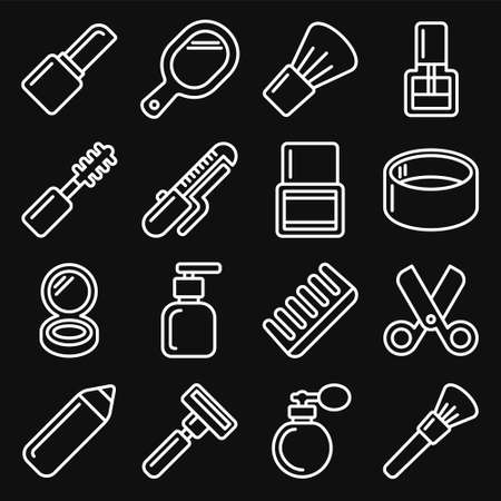 Beauty and Cosmetic Icons Set on Black Background. Line Style Vector