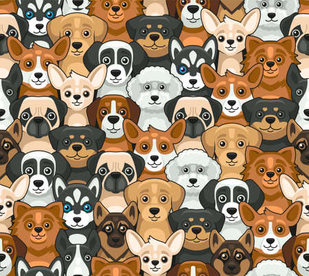 Dog Seamless Pattern. Cute Cartoon Style. Vector
