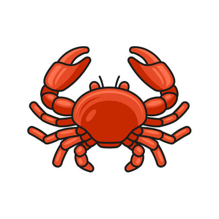 Red Crab Cartoon Style Icon on White Background. Vector