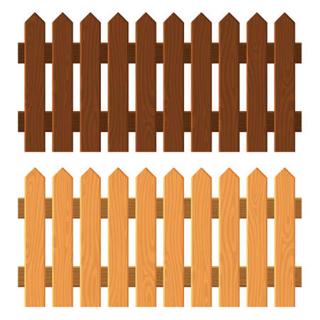 Wooden Fence Set on White Background. Vector
