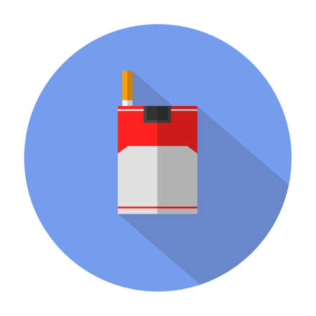 cigarette smoke: cigarette flat icon with long shadow Illustration