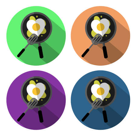 browning: heart fried egg on the pan set icon flat design with long shadow Illustration