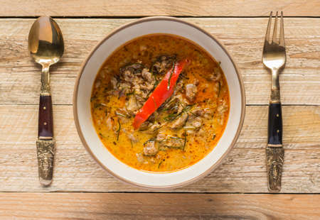 adulation: beef coconut milk red curry is a style of Thai food Panaeng : Delicious and famous Thailand food