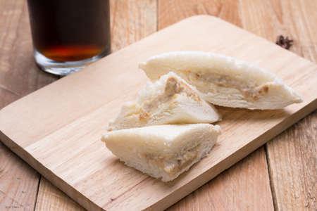 sandwiche: Tuna Sandwiche on wooden background