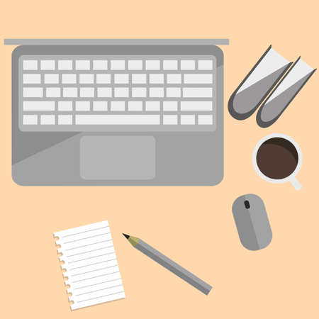 notebook cover: Workplace with electronic devices in flat design - Vector EPS10